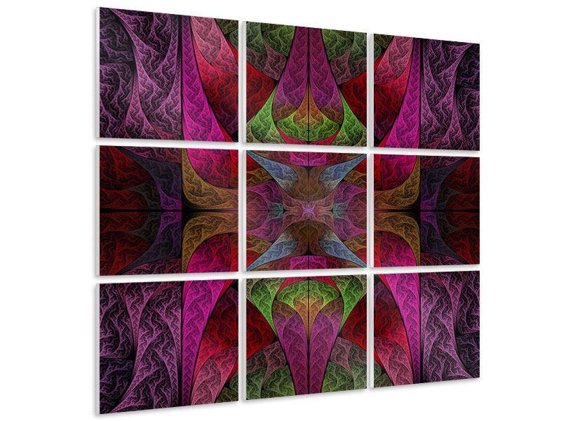 Hartschaumbild 9-teilig Fraktales Muster