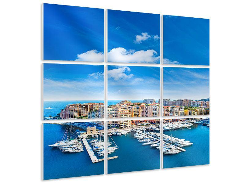 Hartschaumbild 9-teilig Skyline Panoramablick Jachthafen Monaco