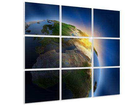 Hartschaumbild 9-teilig Sonne und Erde
