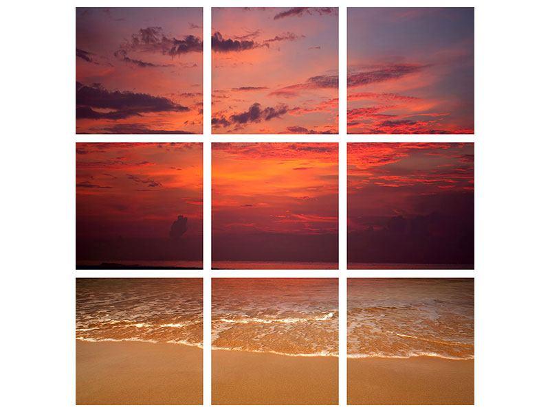 Hartschaumbild 9-teilig Zeile auf den Sand