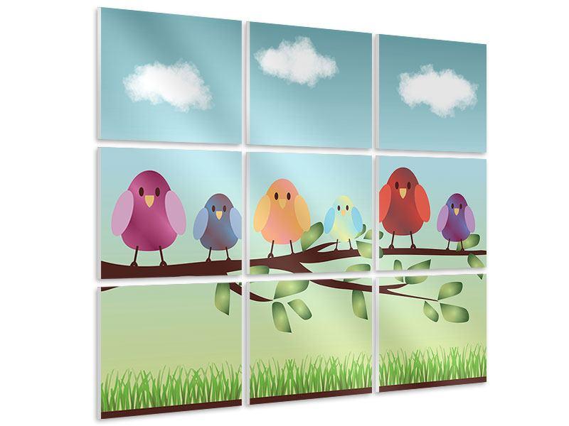 Hartschaumbild 9-teilig Alle Vögel sind schon da