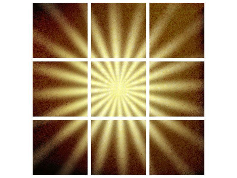 Hartschaumbild 9-teilig Abstrakte Sonnenstrahlen