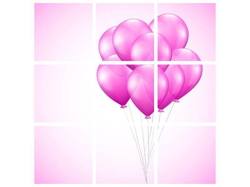 Hartschaumbild 9-teilig Rosarote Luftballons