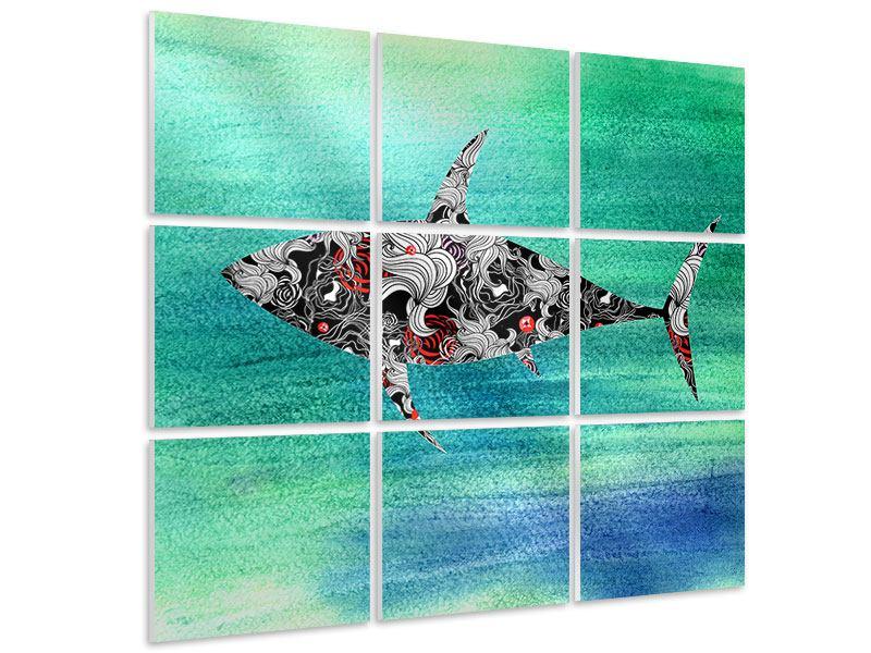 Hartschaumbild 9-teilig Haifisch-Ornament