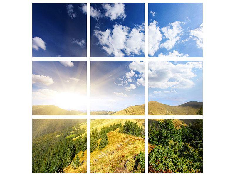 Hartschaumbild 9-teilig Sonnenaufgang im Gebirge