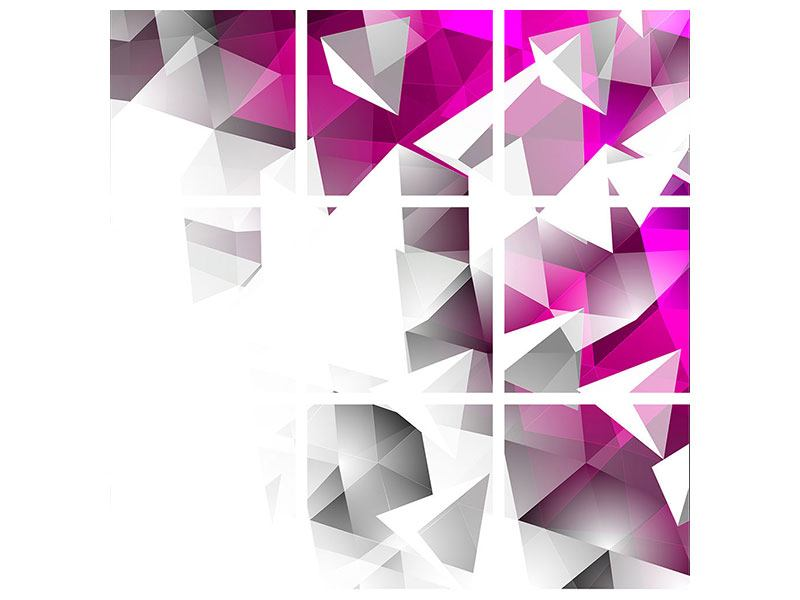 Hartschaumbild 9-teilig 3D-Kristalle Pink