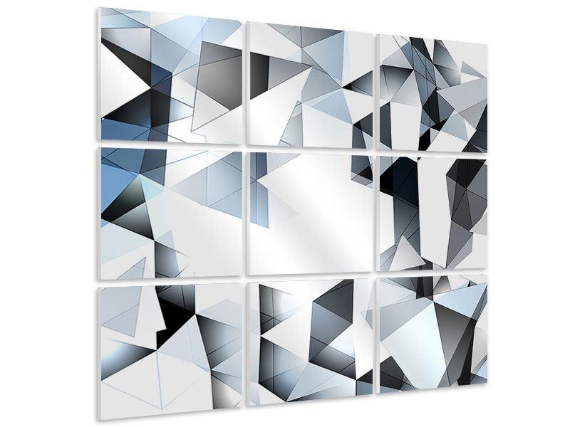 Hartschaumbild 9-teilig 3D-Kristalle
