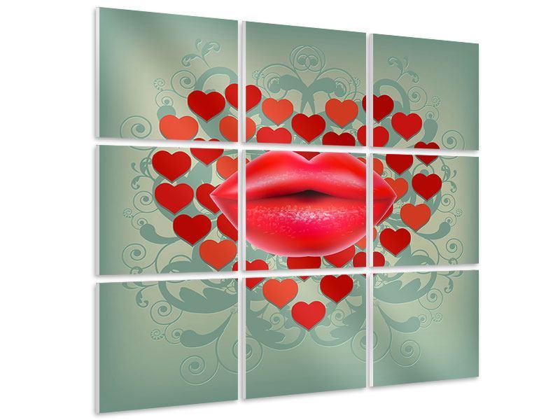 Hartschaumbild 9-teilig Rote Lippen soll man küssen
