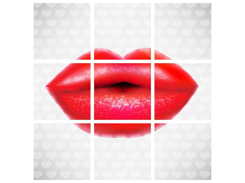 Hartschaumbild 9-teilig Kuss