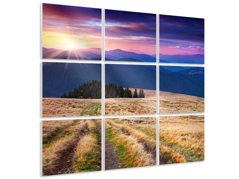 Hartschaumbild 9-teilig Sonnenuntergang in der Bergwelt