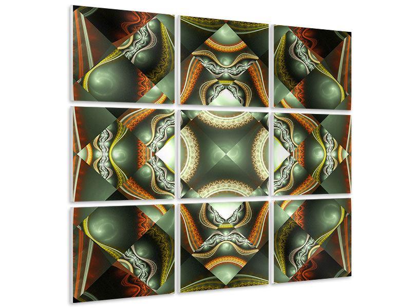 Hartschaumbild 9-teilig Fraktales Bild