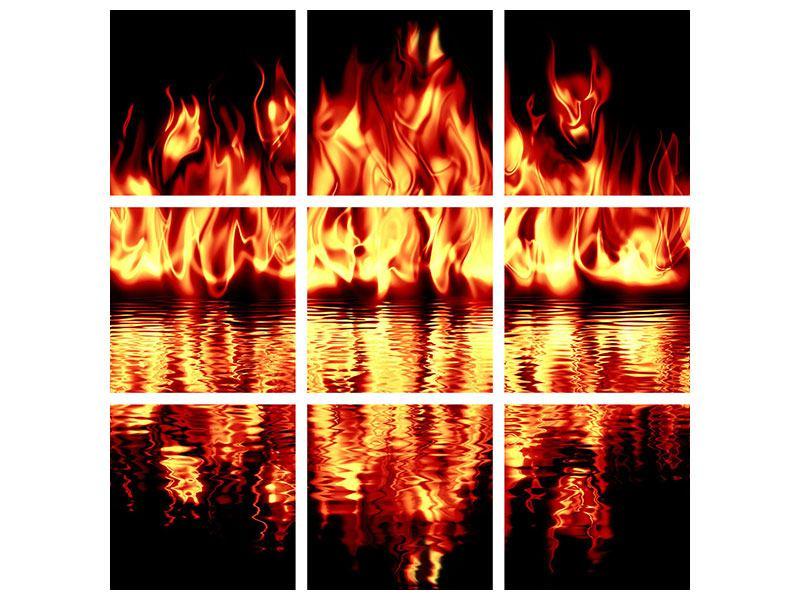 Hartschaumbild 9-teilig Feuerwasser