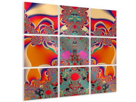 Hartschaumbild 9-teilig Psychedelische Kunst
