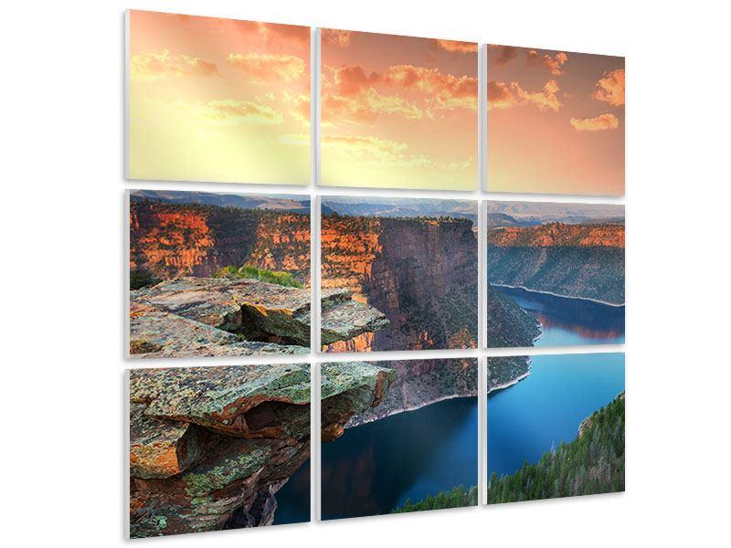 Hartschaumbild 9-teilig Sonnenuntergang Rocky Mountains