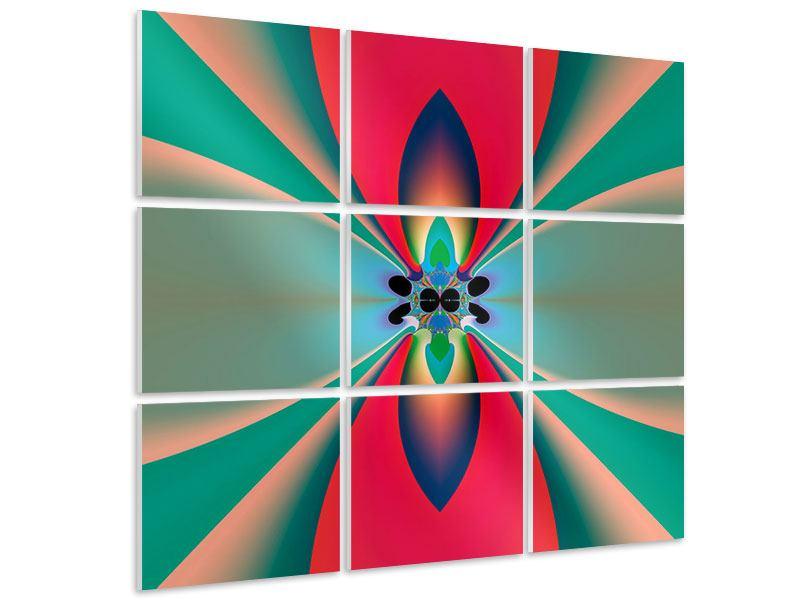 Hartschaumbild 9-teilig Psychedelic Art