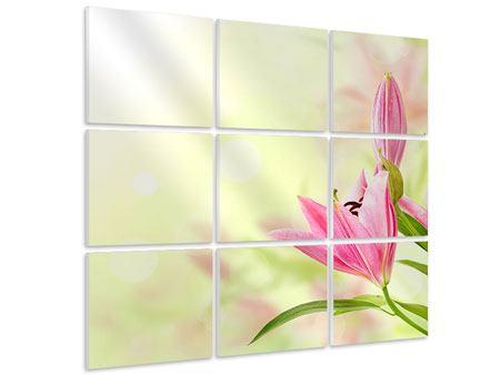 Hartschaumbild 9-teilig Lilien-Perspektive