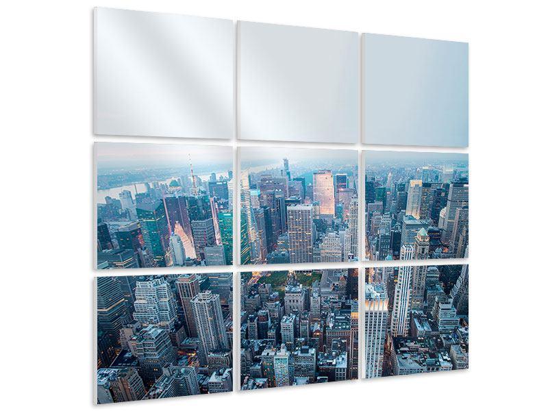 Hartschaumbild 9-teilig Skyline Manhattan in der Abenddämmerung
