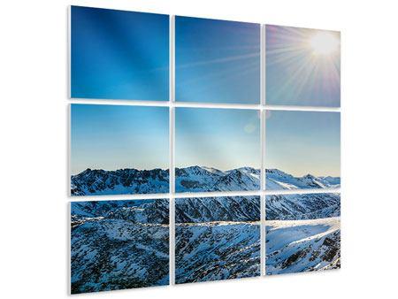 Hartschaumbild 9-teilig Berge im Schnee