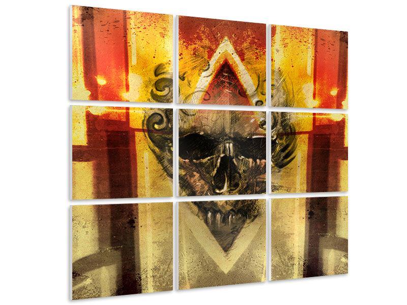 Hartschaumbild 9-teilig Kunstvoller Totenkopf