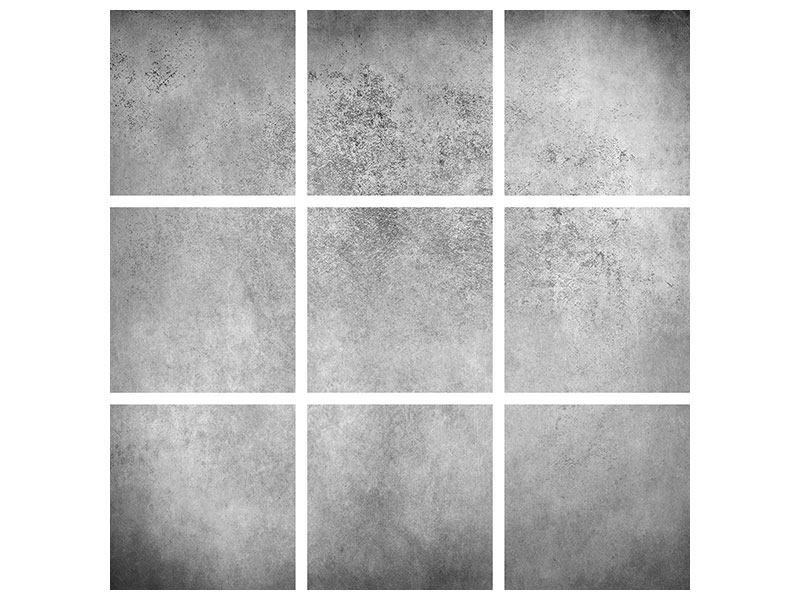 Hartschaumbild 9-teilig Graue Wandschattierungen