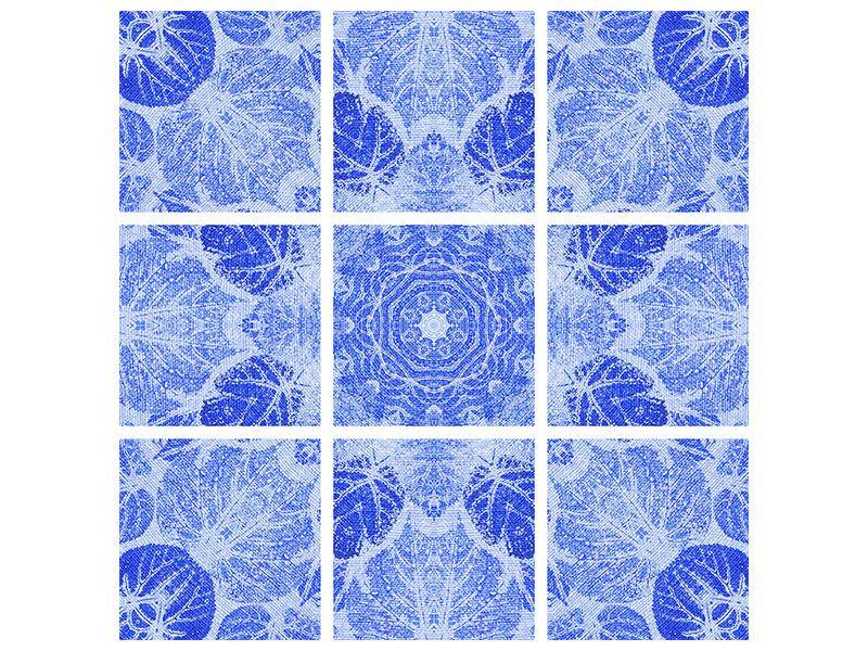 Hartschaumbild 9-teilig Blaues Ornament