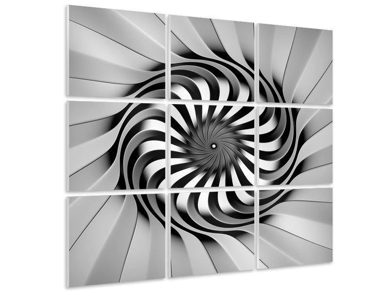 Hartschaumbild 9-teilig Abstrakte Spirale