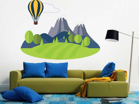 Wall Sticker Balloon in the mountains
