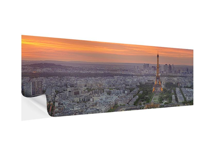 Klebeposter Panorama Skyline Paris bei Sonnenuntergang