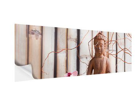 Klebeposter Panorama Buddha + Wellness