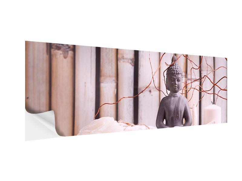 Klebeposter Panorama Spa + Buddha