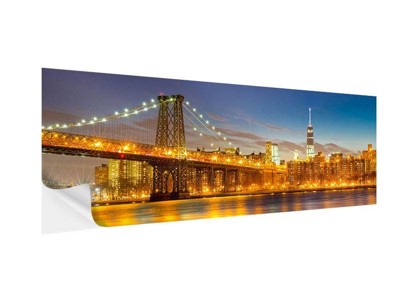 Klebeposter Panorama Skyline NY Williamsburg Bridge