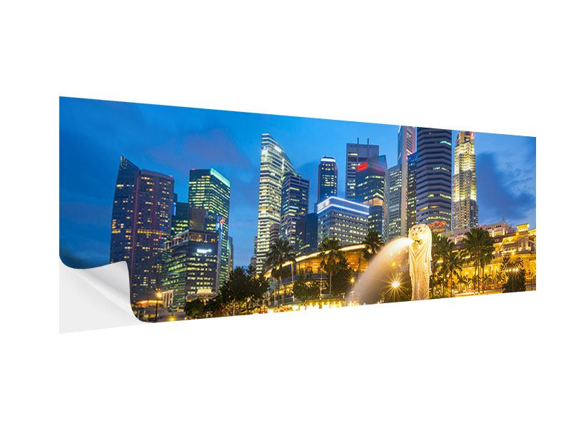 Klebeposter Panorama Skyline Singapur im Lichtermeer