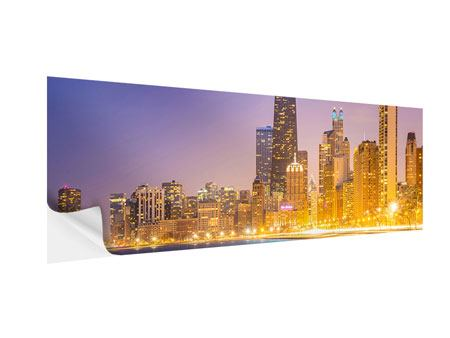 Klebeposter Panorama Skyline Chicago in der Nacht