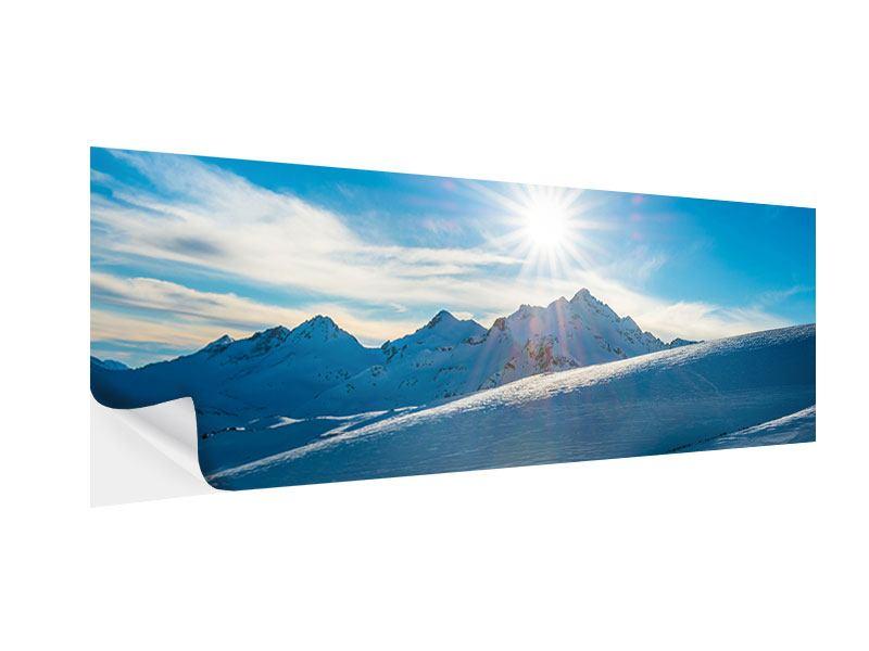 Klebeposter Panorama Ein Wintermärchen in den Bergen