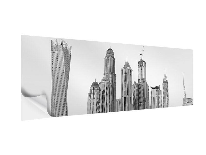 Klebeposter Panorama Majestätische Wolkenkratzer in Dubai