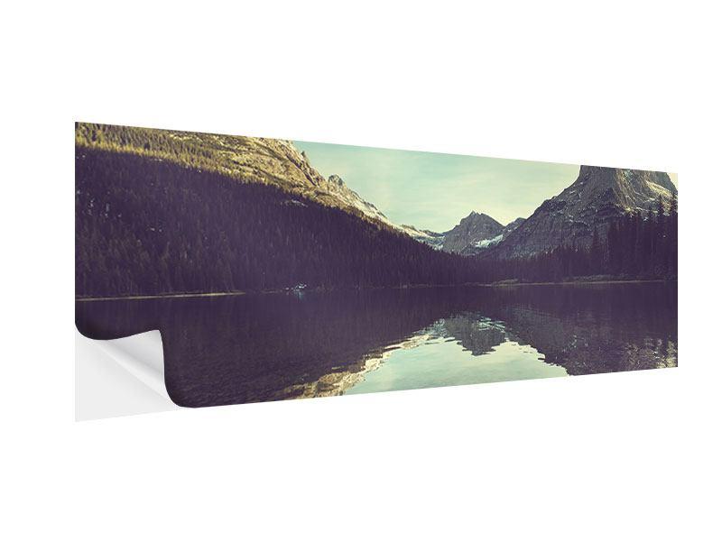 Klebeposter Panorama Spiegelung im Bergsee