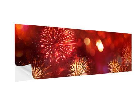 Klebeposter Panorama Buntes Feuerwerk