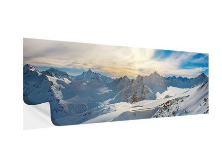 Klebeposter Panorama Über den verschneiten Gipfeln