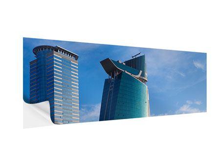 Klebeposter Panorama Zwei Wolkenkratzer