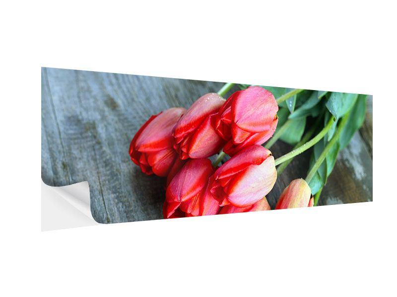 Klebeposter Panorama Der rote Tulpenstrauss