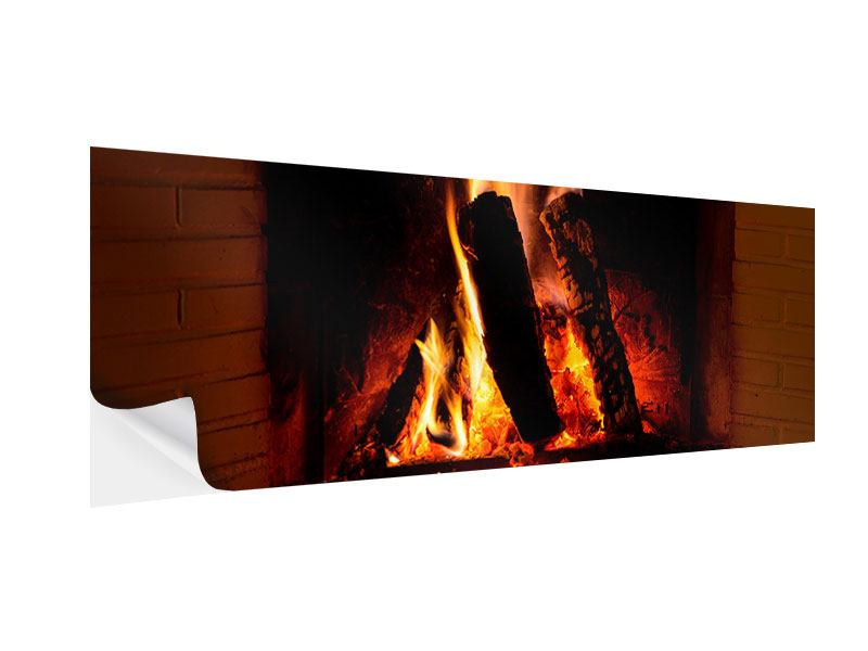 klebeposter panorama feuer im kamin jetzt bestellen. Black Bedroom Furniture Sets. Home Design Ideas