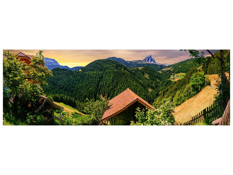 Klebeposter Panorama Schweizer Berge im Sommer