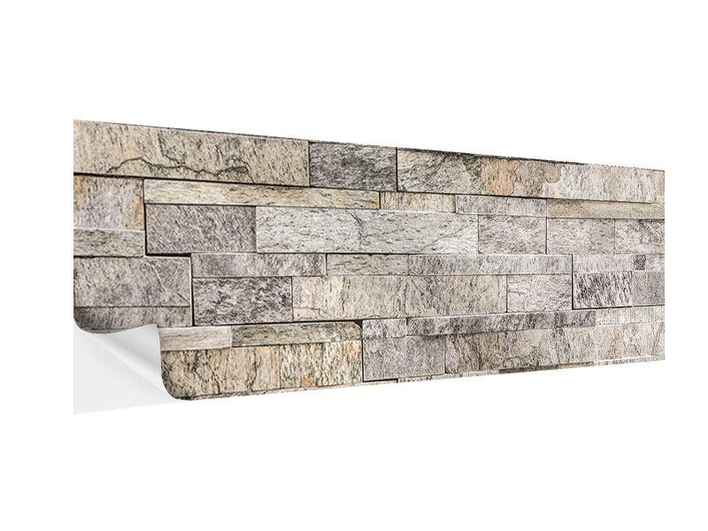 Klebeposter Panorama Elegante Steinmauer