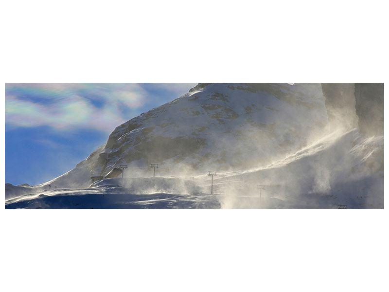 Klebeposter Panorama Mit Schneeverwehungen den Berg in Szene gesetzt