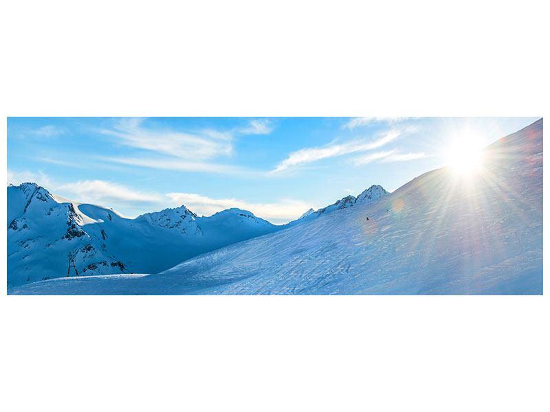 Klebeposter Panorama Sonnenaufgang in den Bergen