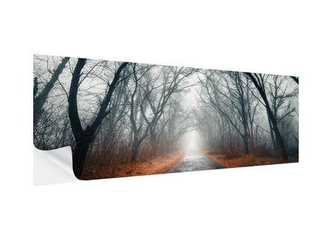 Klebeposter Panorama Mysteriöse Stimmung im Wald
