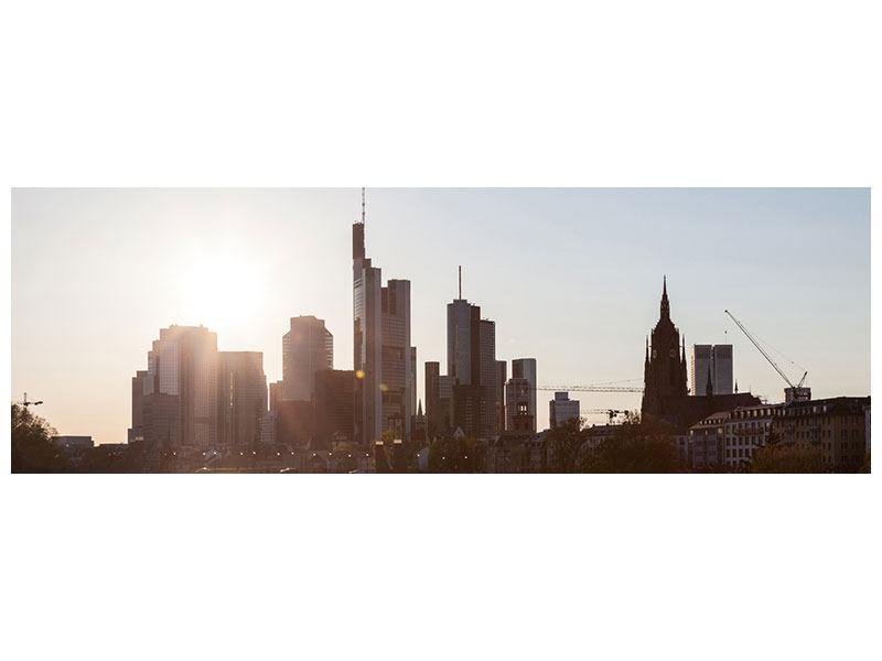 Klebeposter Panorama Skyline Sonnenaufgang bei Frankfurt am Main