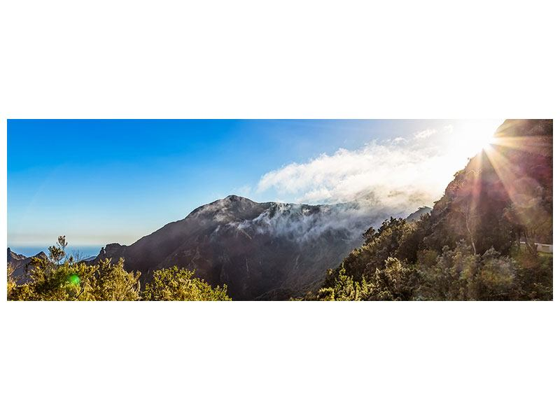 Klebeposter Panorama Berge am Meer