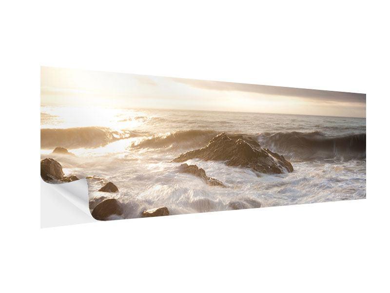 Klebeposter Panorama Meeresbrandung