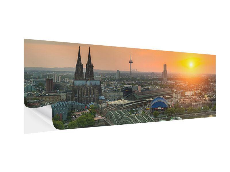 Klebeposter Panorama Skyline Köln bei Sonnenuntergang